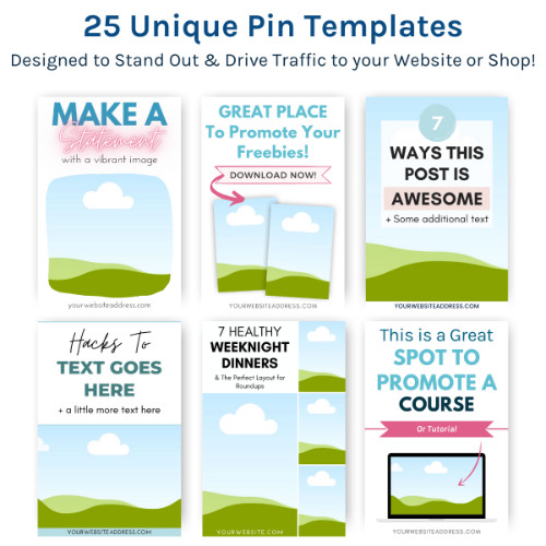 25 unique pin templates, easy to edit in Canva