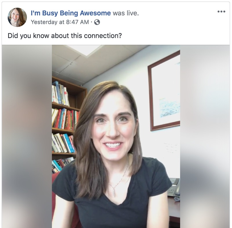 Example of a Facebook live by I'm Busy Being Awesome. Image: Young woman with brown hair smiling into the camera, talking.