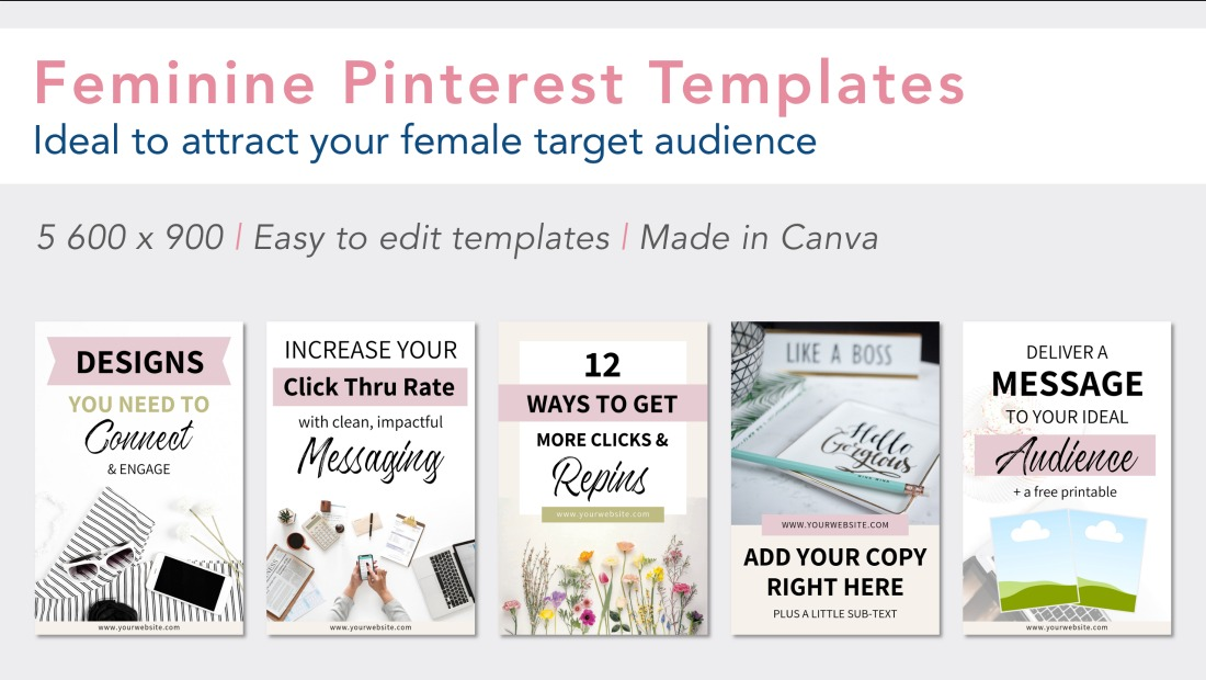 10 Feminine Pinterest Templates, Made in Canva