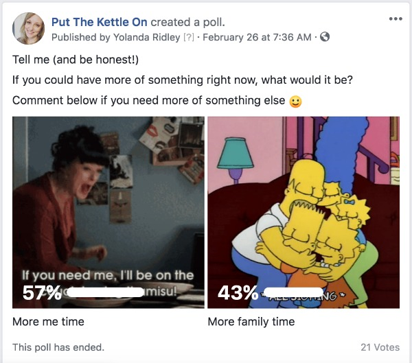 Example of a Facebook page poll