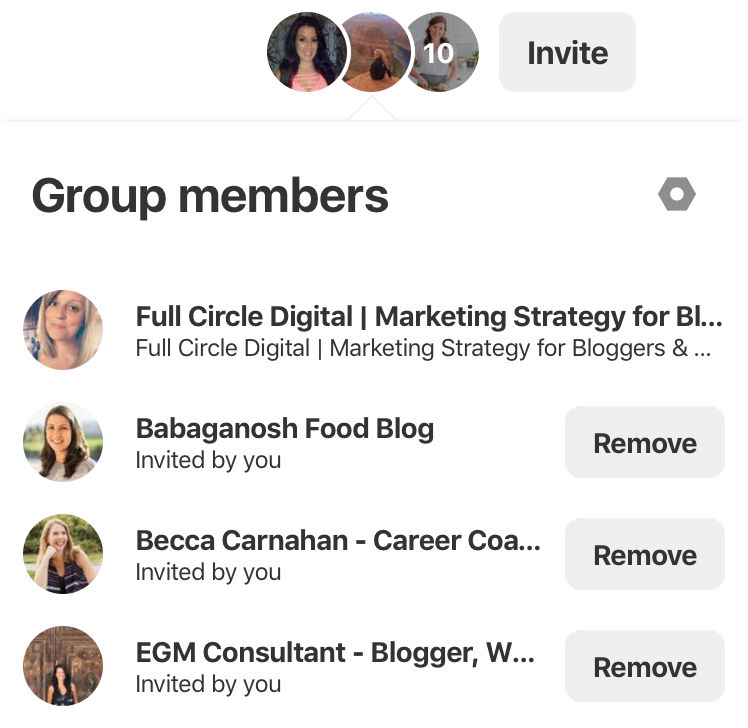 Pinterest group members