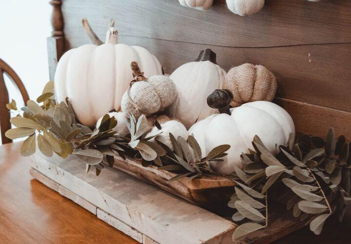 pumpkins on a mantel