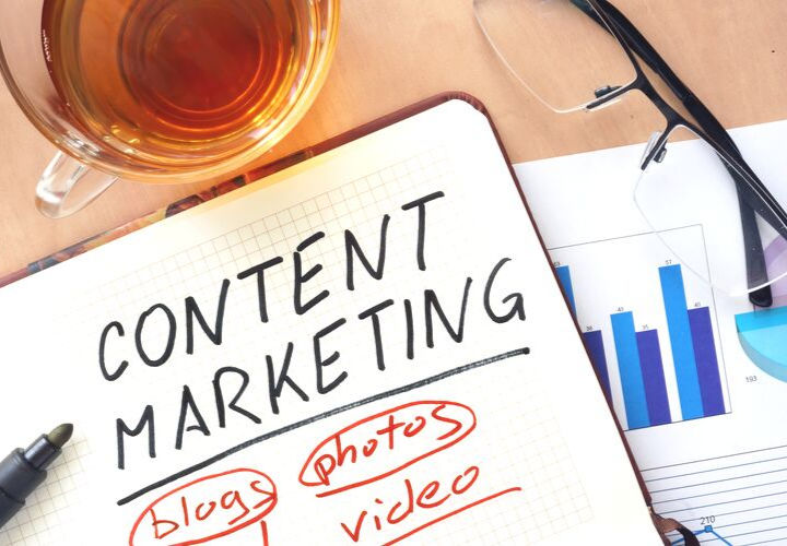 Content marketing written in notebook