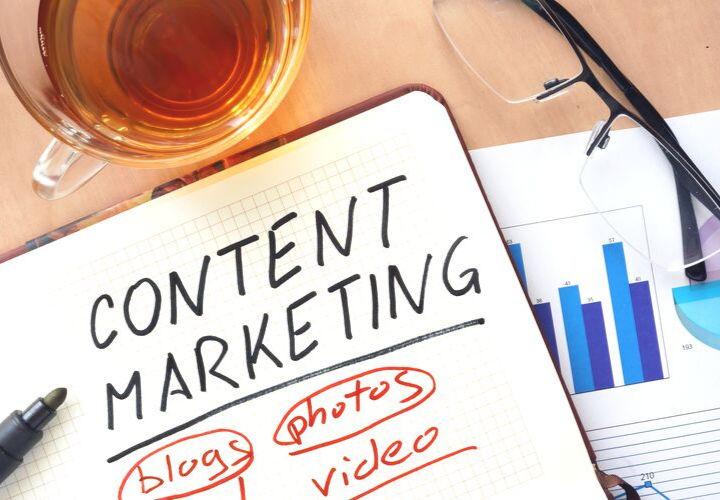 Content marketing written in notebook