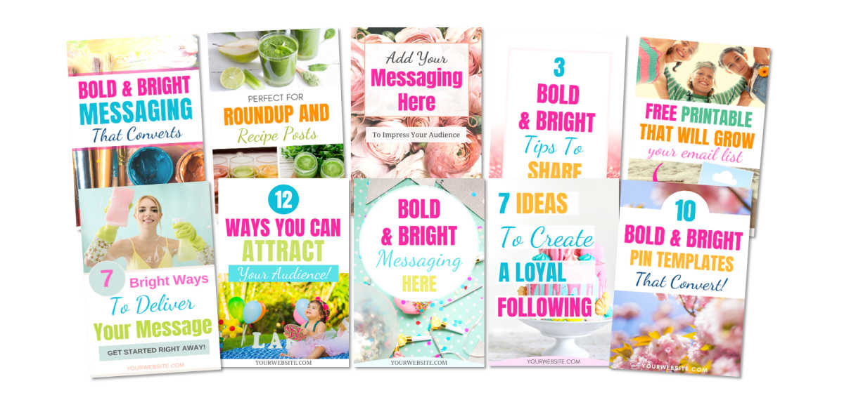 10 Bold and Bright Pinterest Templates, edit in Canva