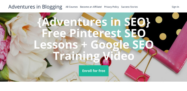 Adventures in SEO free trial enrolment page