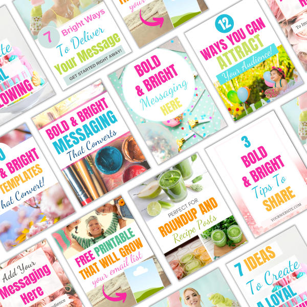 Bright and bold Pinterest pin templates for Canva