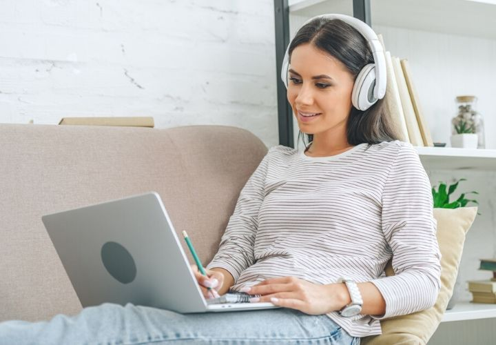 woman on laptop taking an online course