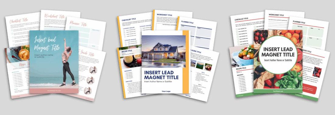 Lead Magnet templates screenshot examples