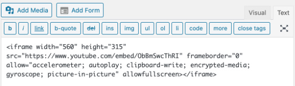 how to add embed code from youtube to wordpress