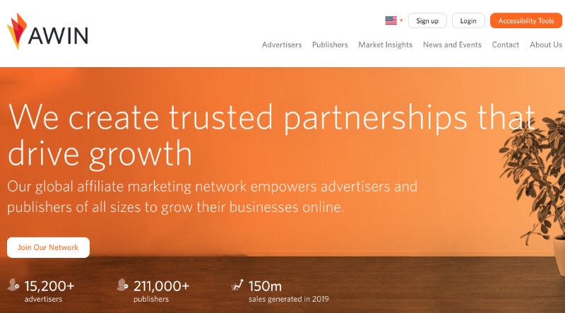 Awin screenshot of homepage