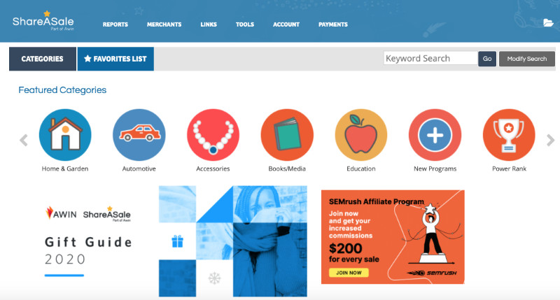 ShareASale Affiliate Dashboard screenshot