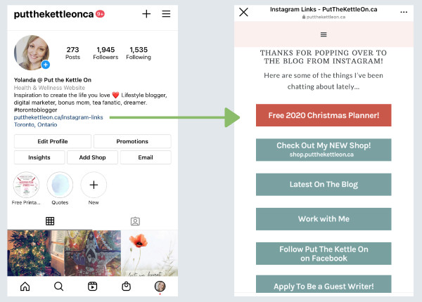 Example of how to create an Instagram link in bio page